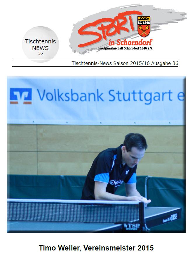Das SG Schorndorf Tischtennis Heft 36 ist da!